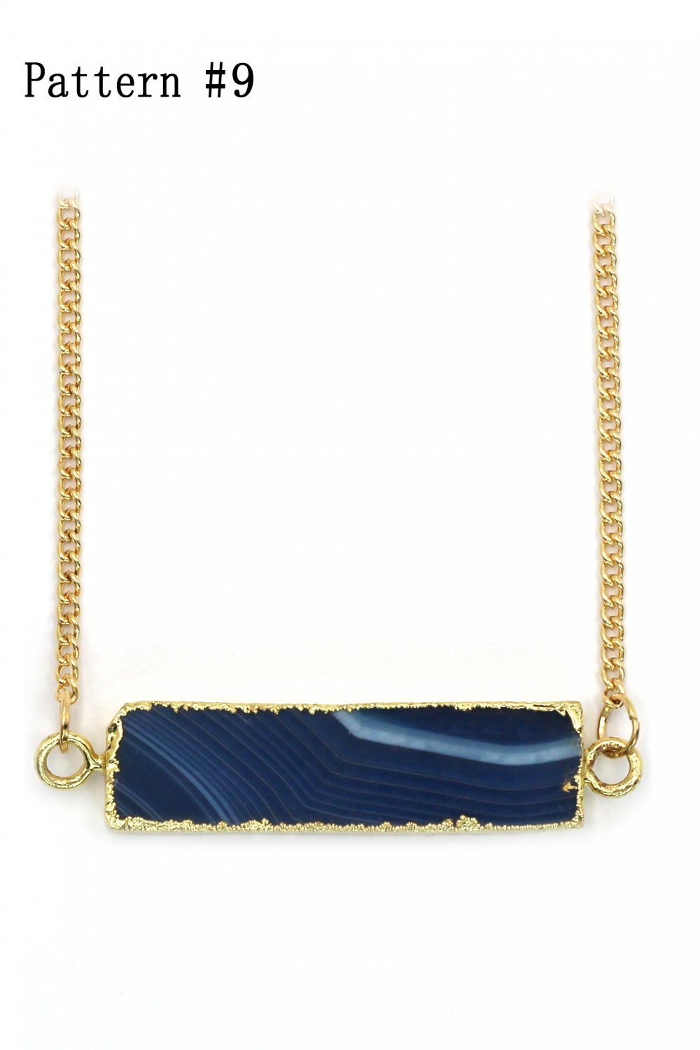 Fashion natural stone golden necklace Pattern #9