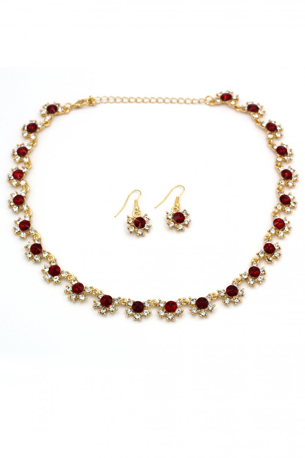Classic red crystal necklace earrings gold set
