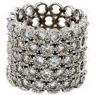 Luxury multi-row crystal silver ring
