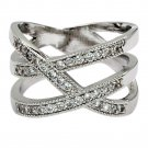 Gleaming crystal silver ring