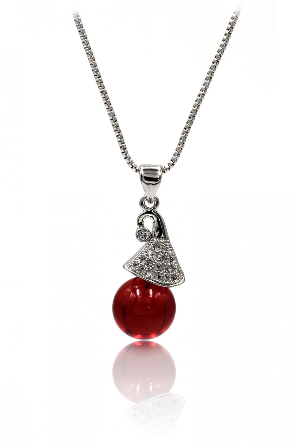 Fashion wizard hat red crystal silver necklace