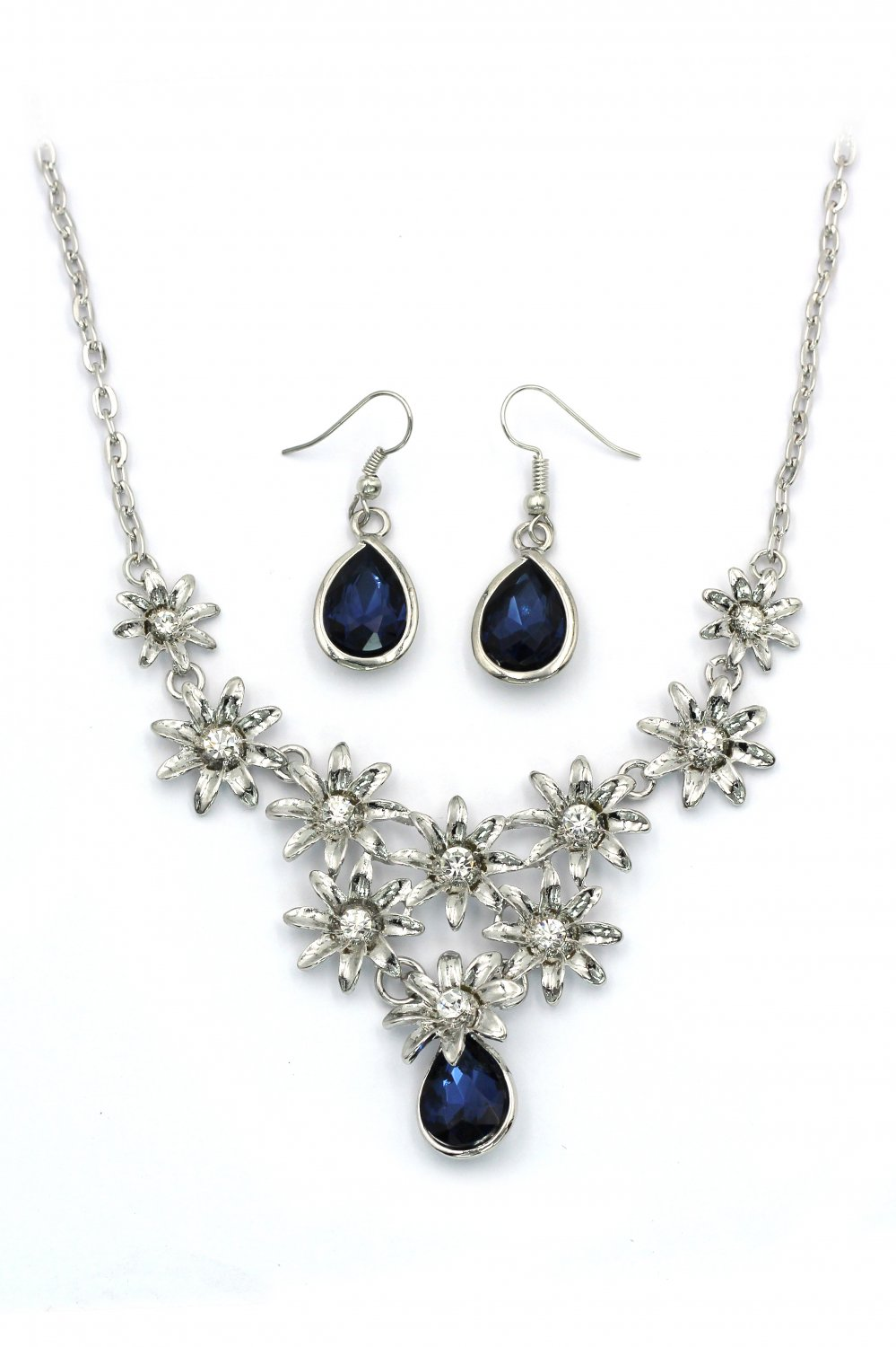 Brilliant silver flowers blue crystal necklace earrings set