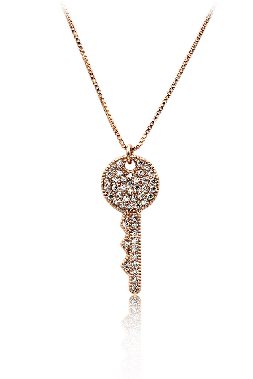 Sparkling little crystal key rose gold necklace