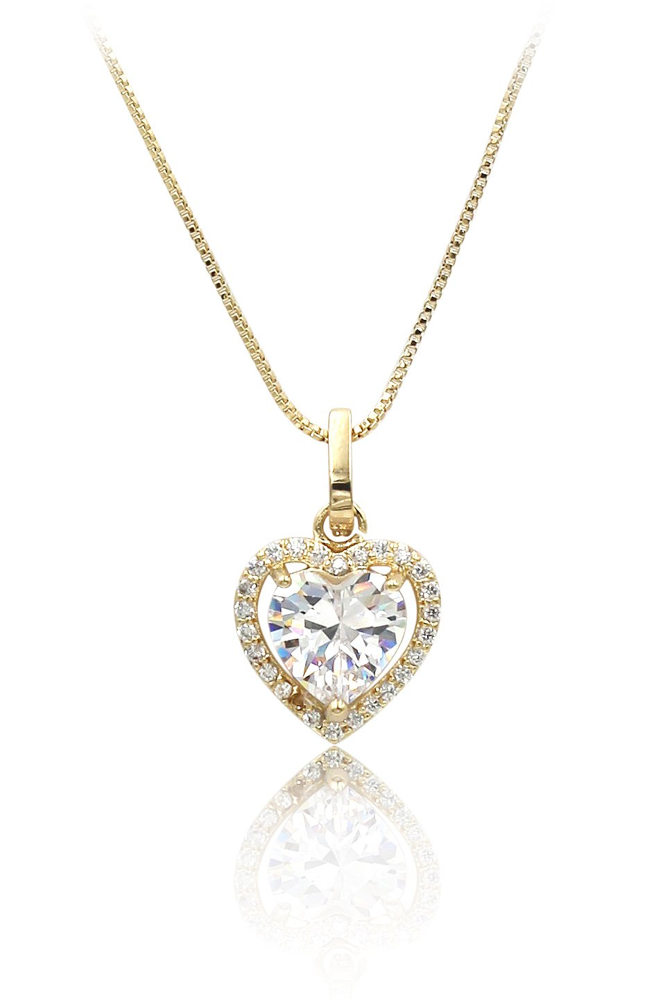 Lovely peach heart crystal gold necklace