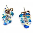 Lovely gold bow Swarovski crystal earrings