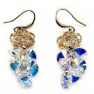 Lady swarovski crystal gold rose earrings