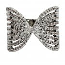 Sparkling crystal butterfly powder silver ring