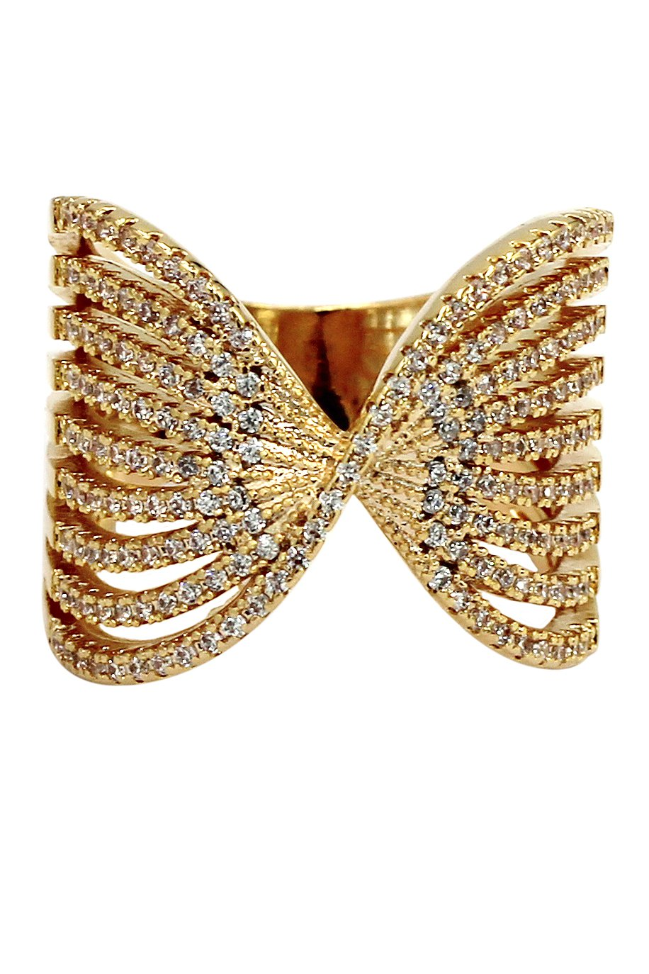 Sparkling crystal butterfly powder gold ring