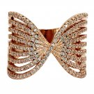 Sparkling crystal butterfly powder rose gold ring