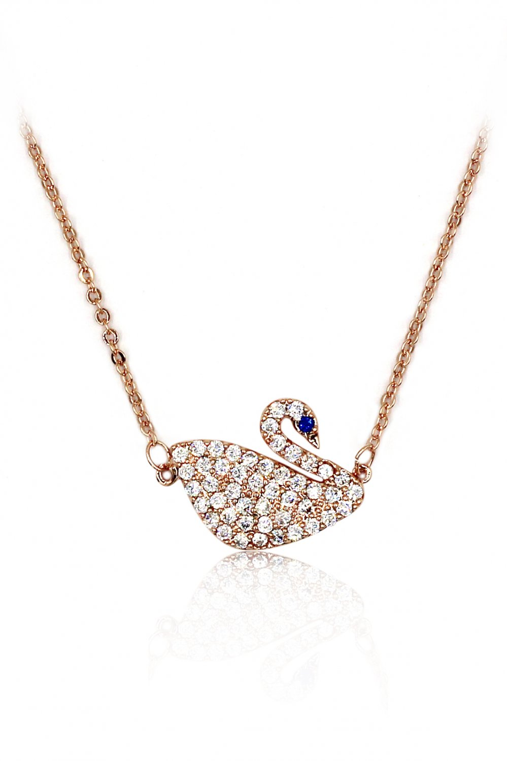 Delicate blue eyes crystal swan rose gold necklace