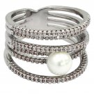 Micro pave small crystal sparkling pearl silver ring