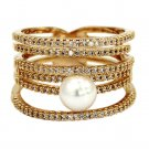 Micro pave small crystal sparkling pearl gold ring