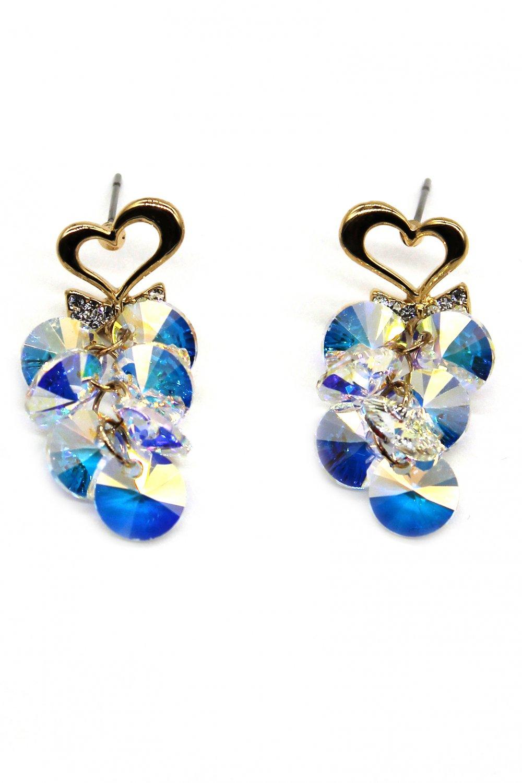 Sweety heart pendant swarovski crystal earrings