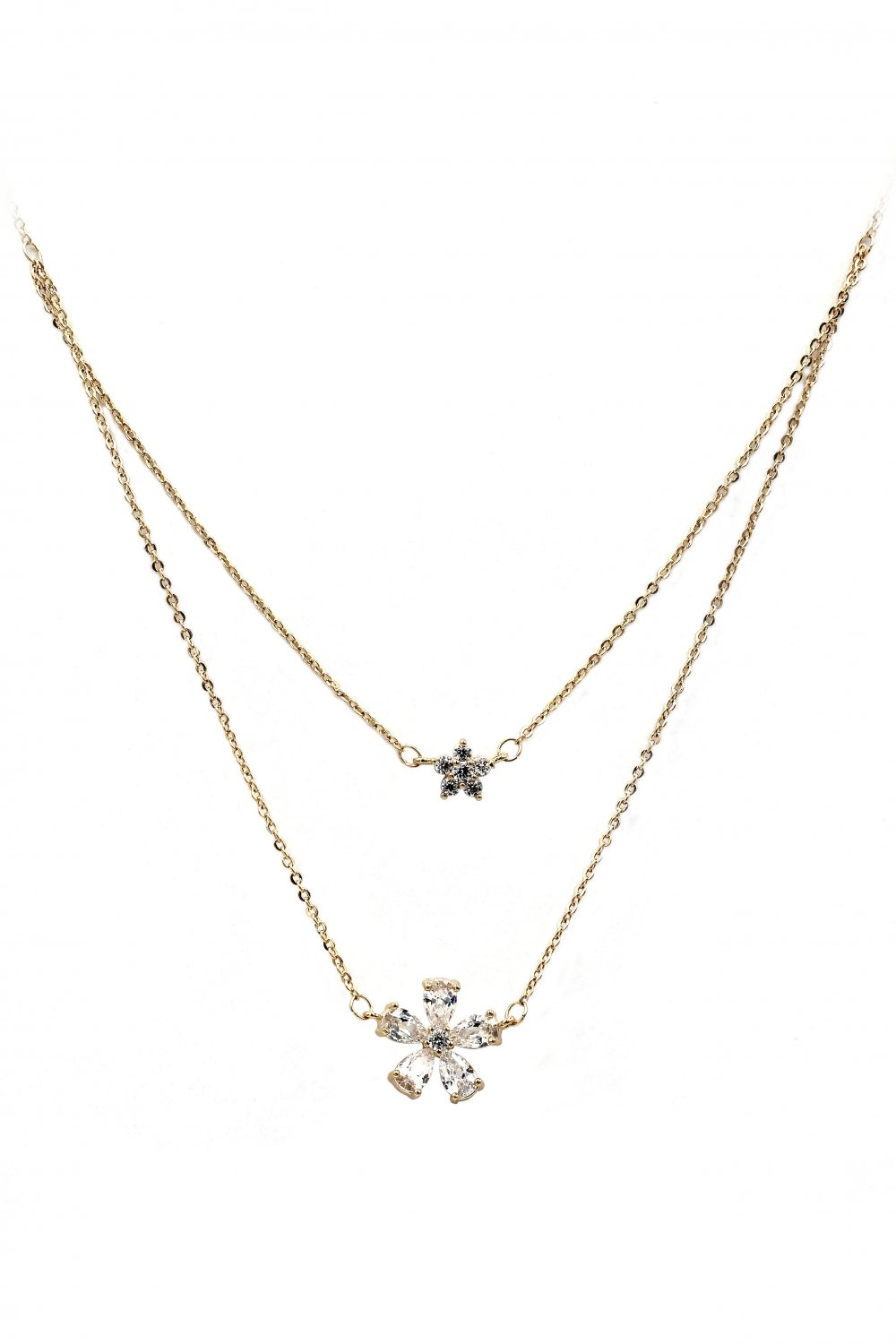 Duplexes mini flowers crystal gold necklace