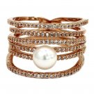 Micro pave small crystal sparkling pearl rose gold ring