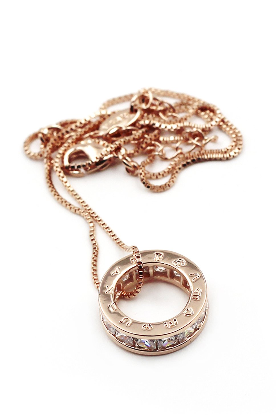 Circle the letter crystal rose gold necklace