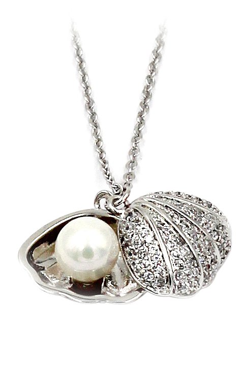 Pearl silver shell necklace