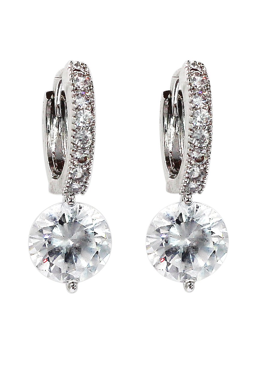 Fashion hook crystal silver earrings