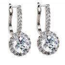Fashion crystal harp silver earrings