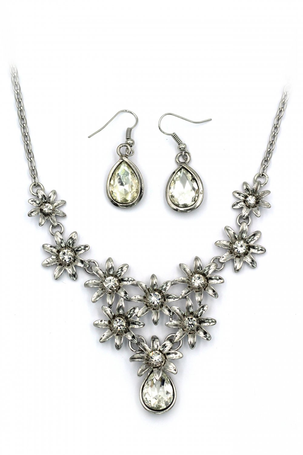 Brilliant silver flowers white crystal necklace earrings set