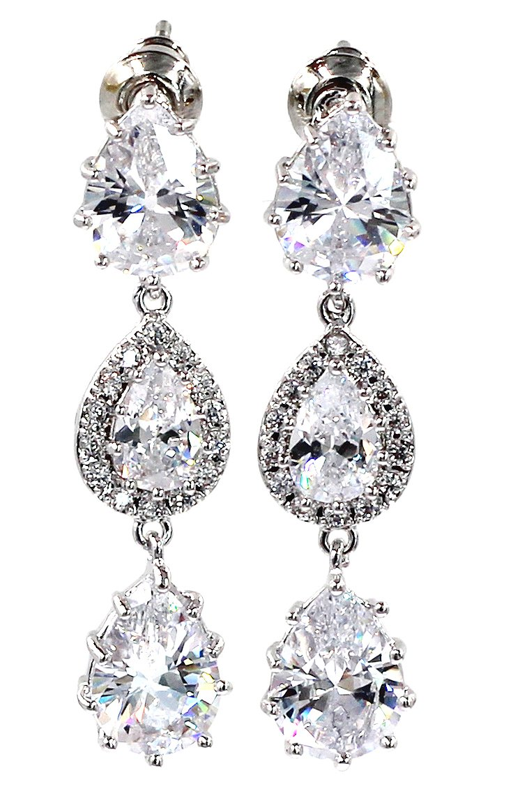 Shining pendant crystal silver earrings