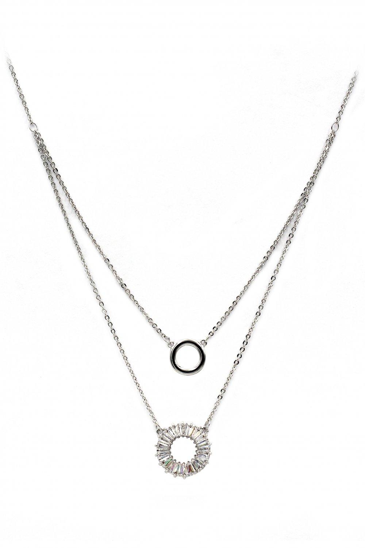 Duplexes crystal circle silver necklace