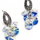 Sparkling drop swarovski crystal silver earrings