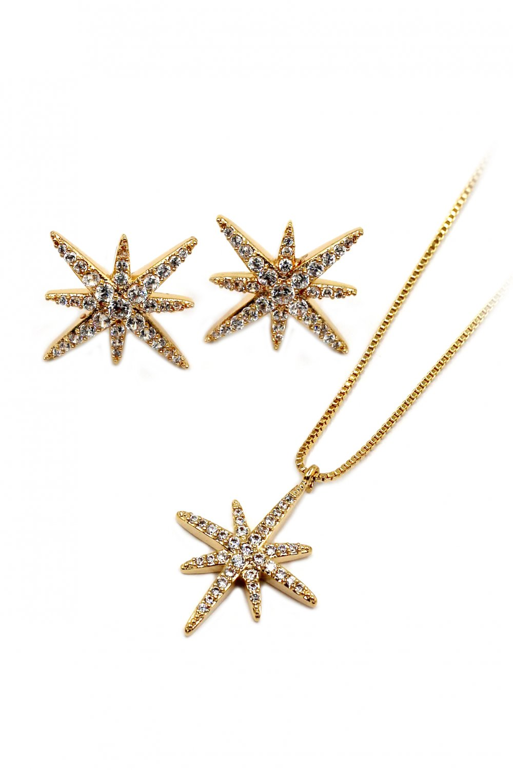 Fashion polaris small crystal Sterling silver chain necklace earrings gold set