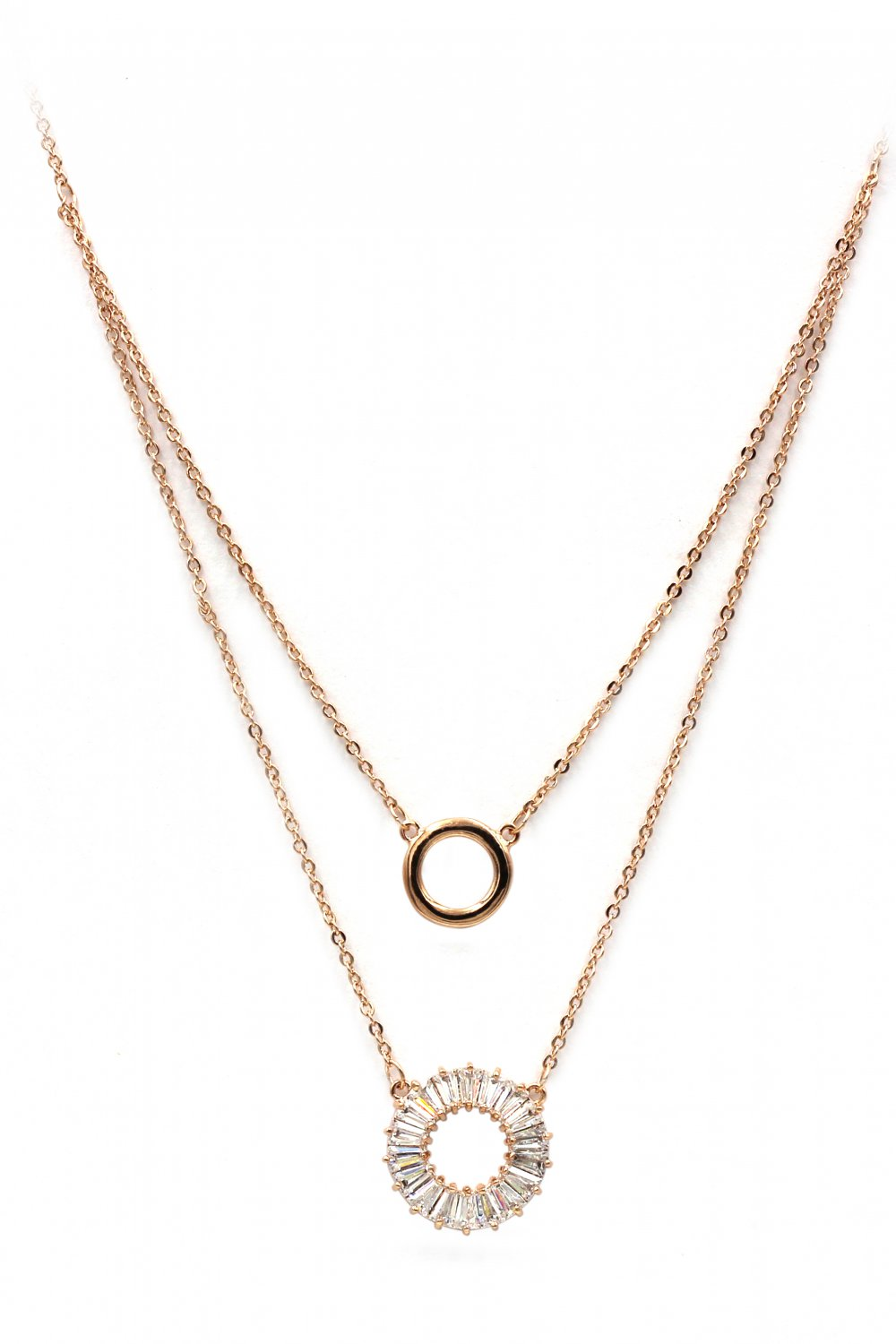 Duplexes crystal circle rose gold necklace