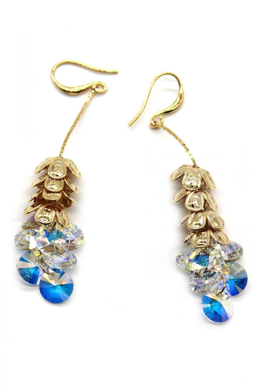 Elegant stacked layers flowers swarovski crystal gold earrings