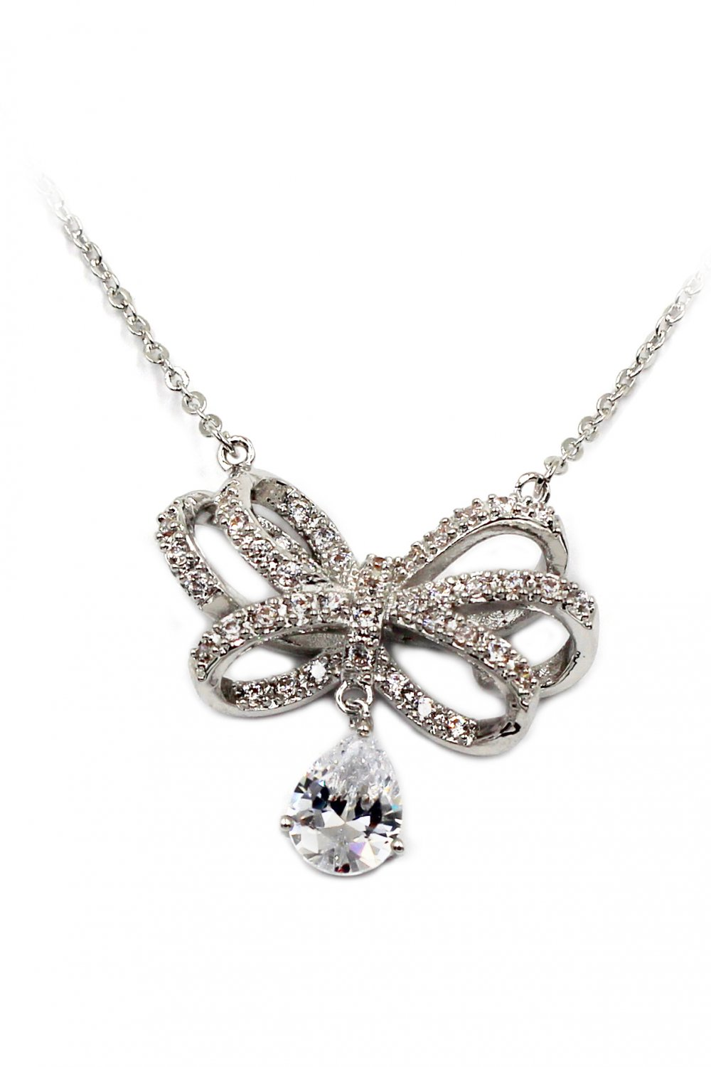 Noble bowknot crystal pendant silver necklace