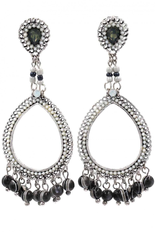Classic pendant black beads earrings