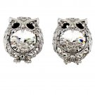 Mini cute owl crystal silver earrings