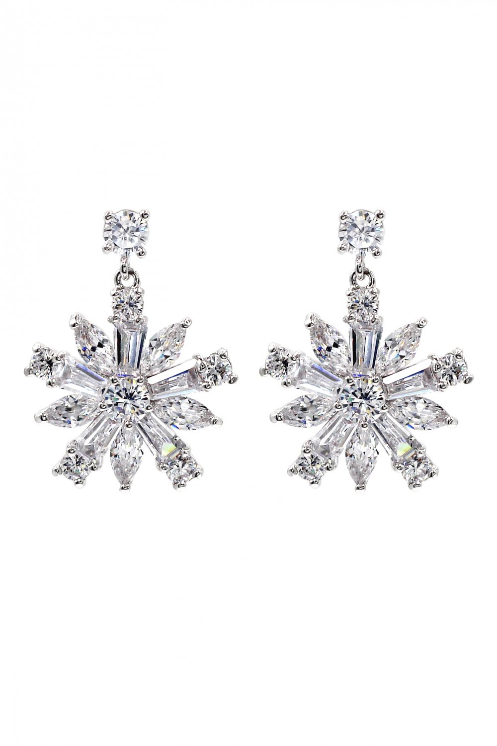 Fashion sparkling crystal silver earrings