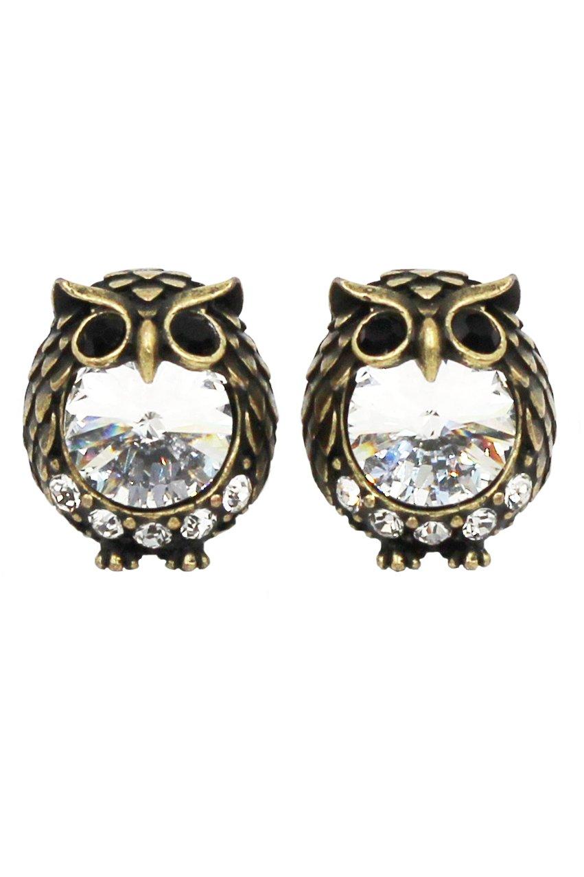Mini cute Vintage Gold owl crystal earrings