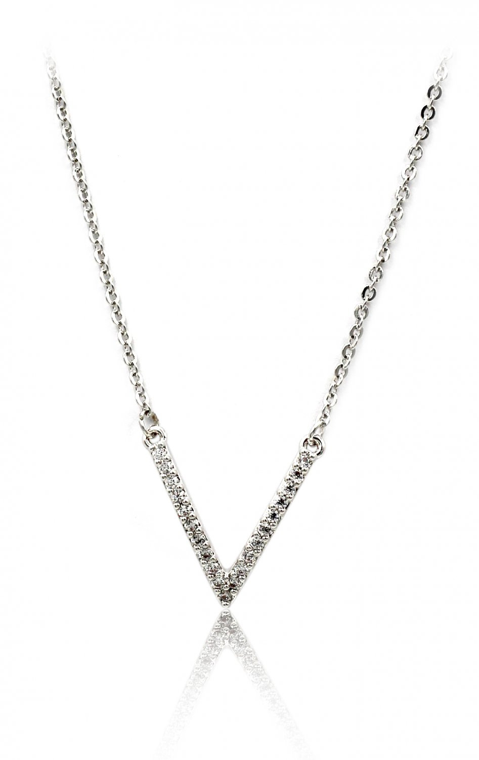 Fashion sparkling crystal V clavicle silver necklace