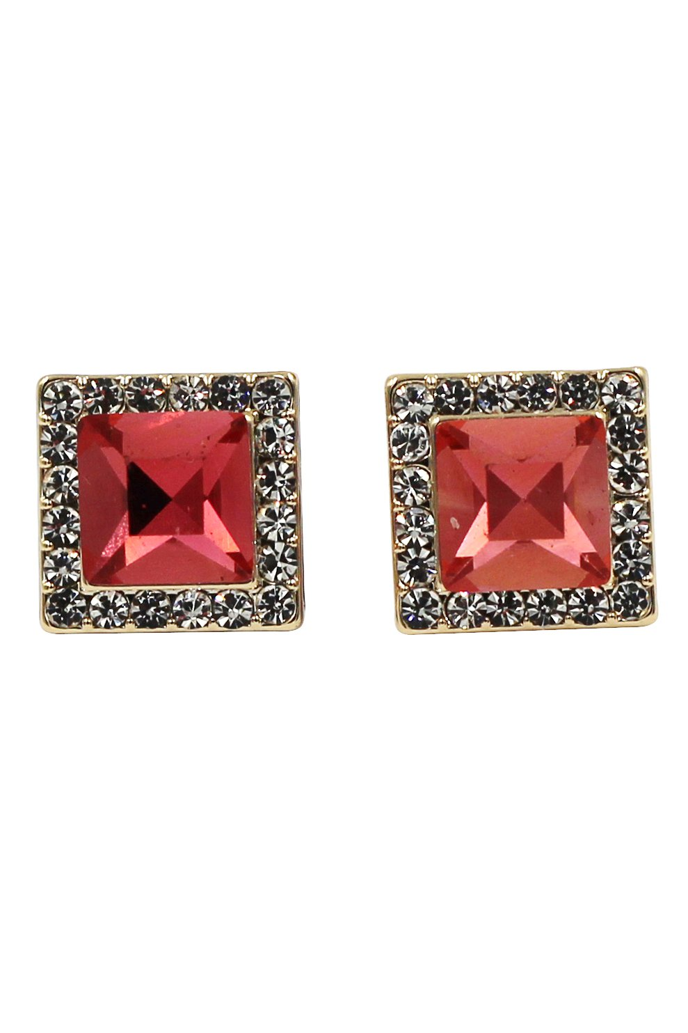 Bright ruby square crystal gold earrings