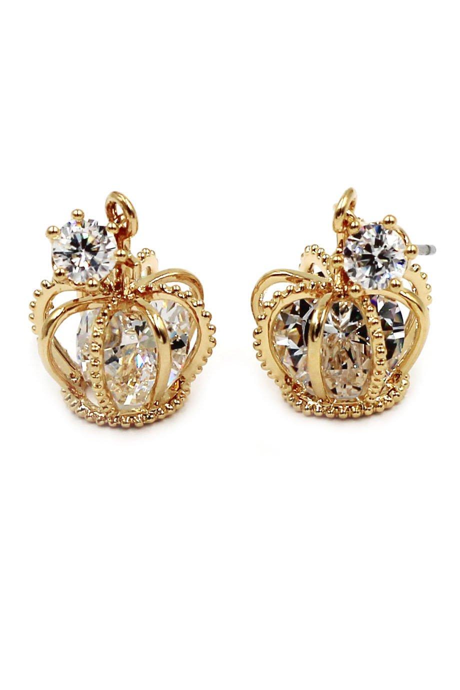 Fashion mini crown crystal gold earrings
