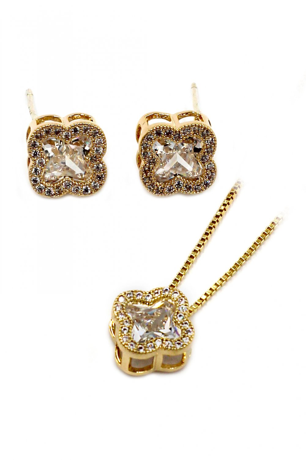 Stylish cherry crystal necklace earrings gold set