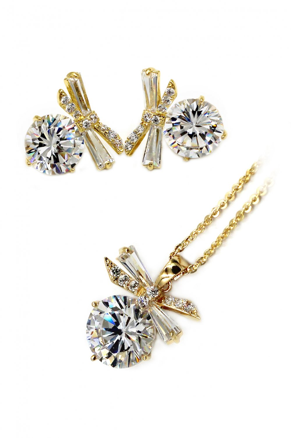 Elegant dragonfly crystal necklace earrings gold set