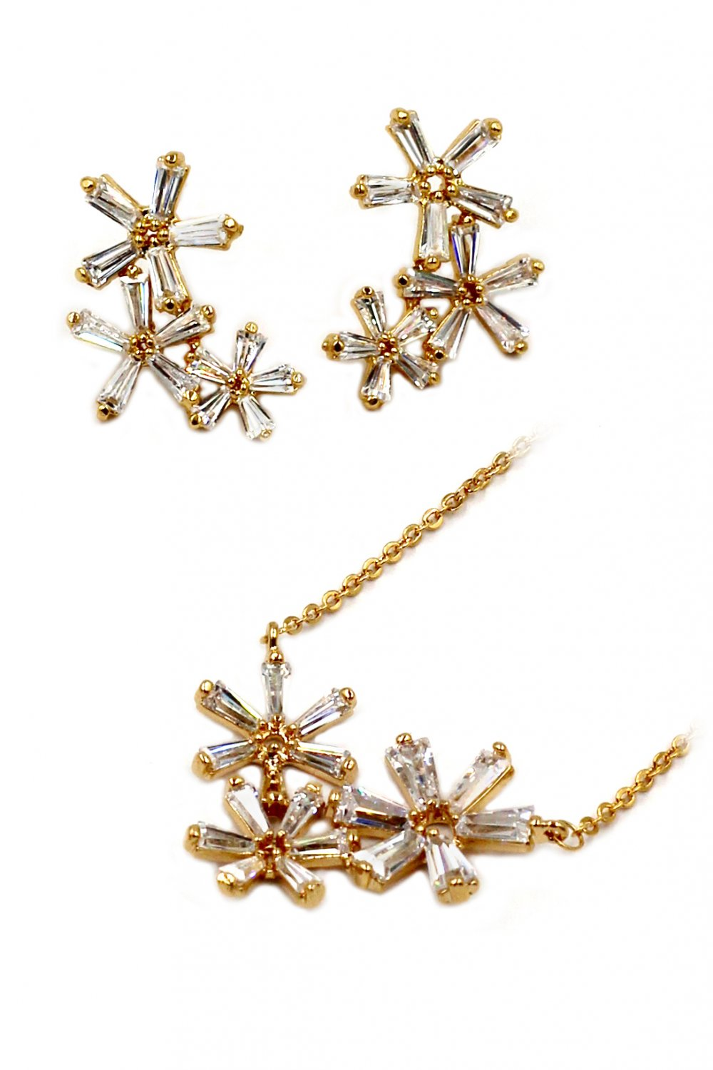 Simple flowers crystal necklace earrings gold set