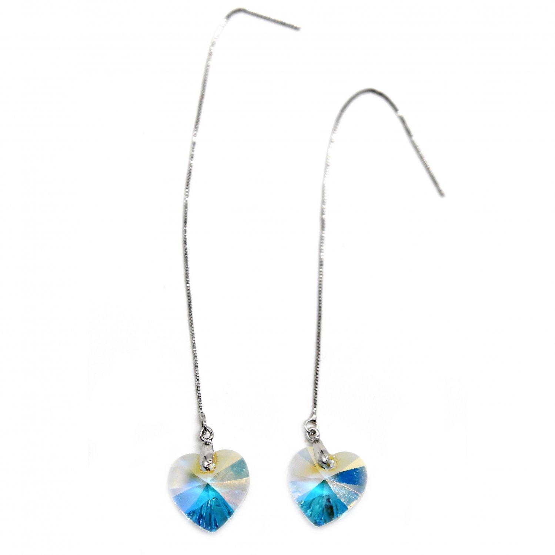 Swarovski crystal pendant ocean heart earrings