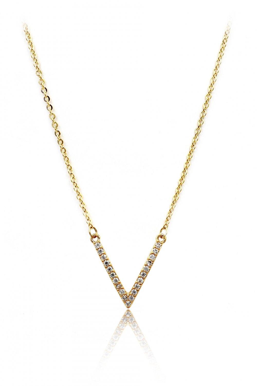 Fashion sparkling crystal V clavicle gold necklace