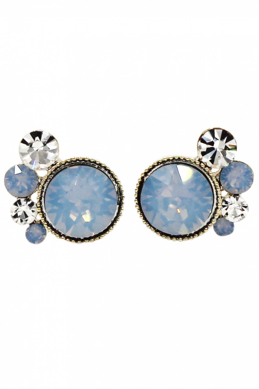 Lovely blue crystal little feet earrings