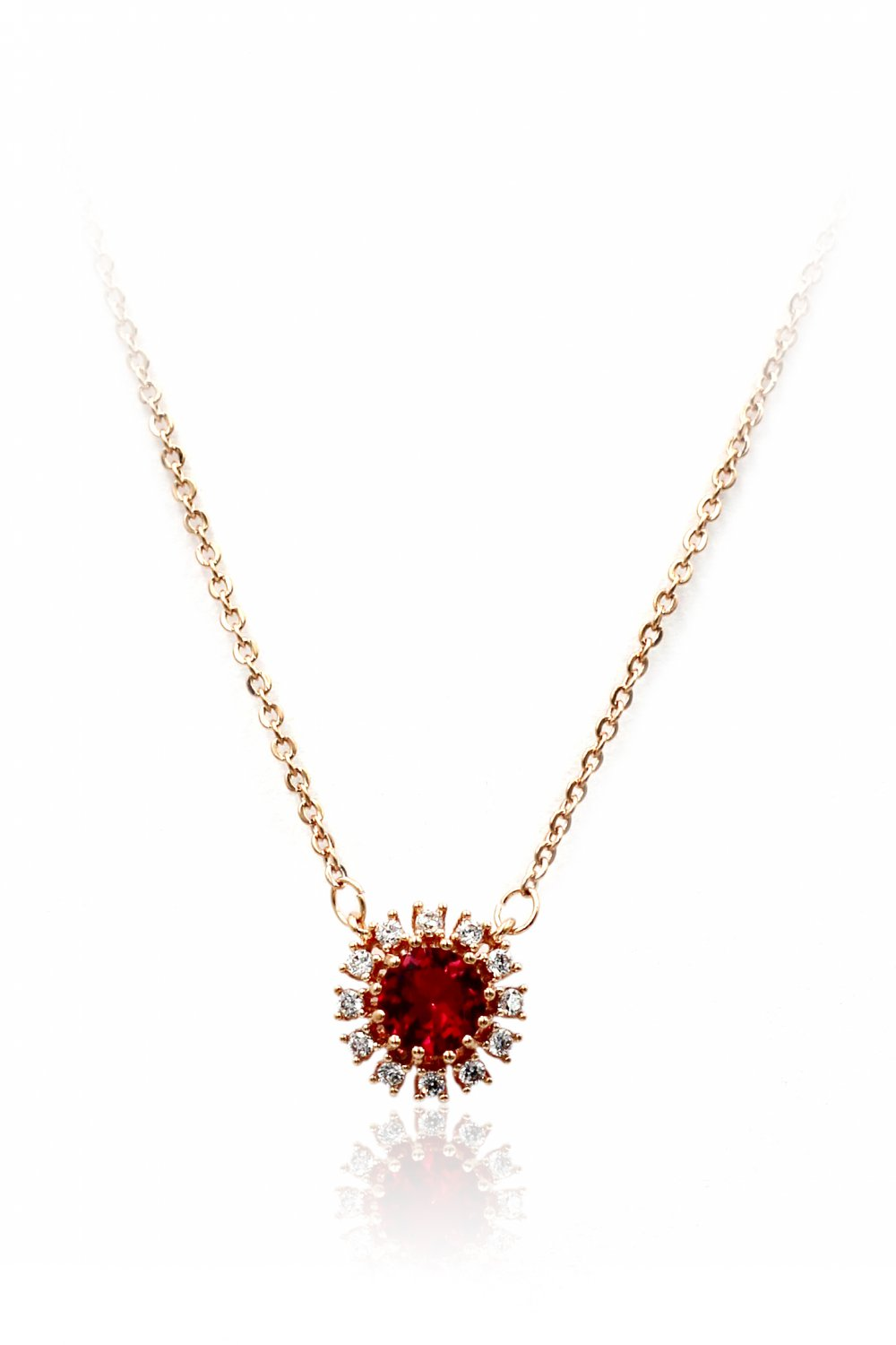 Simple red sun crystal rose gold necklace