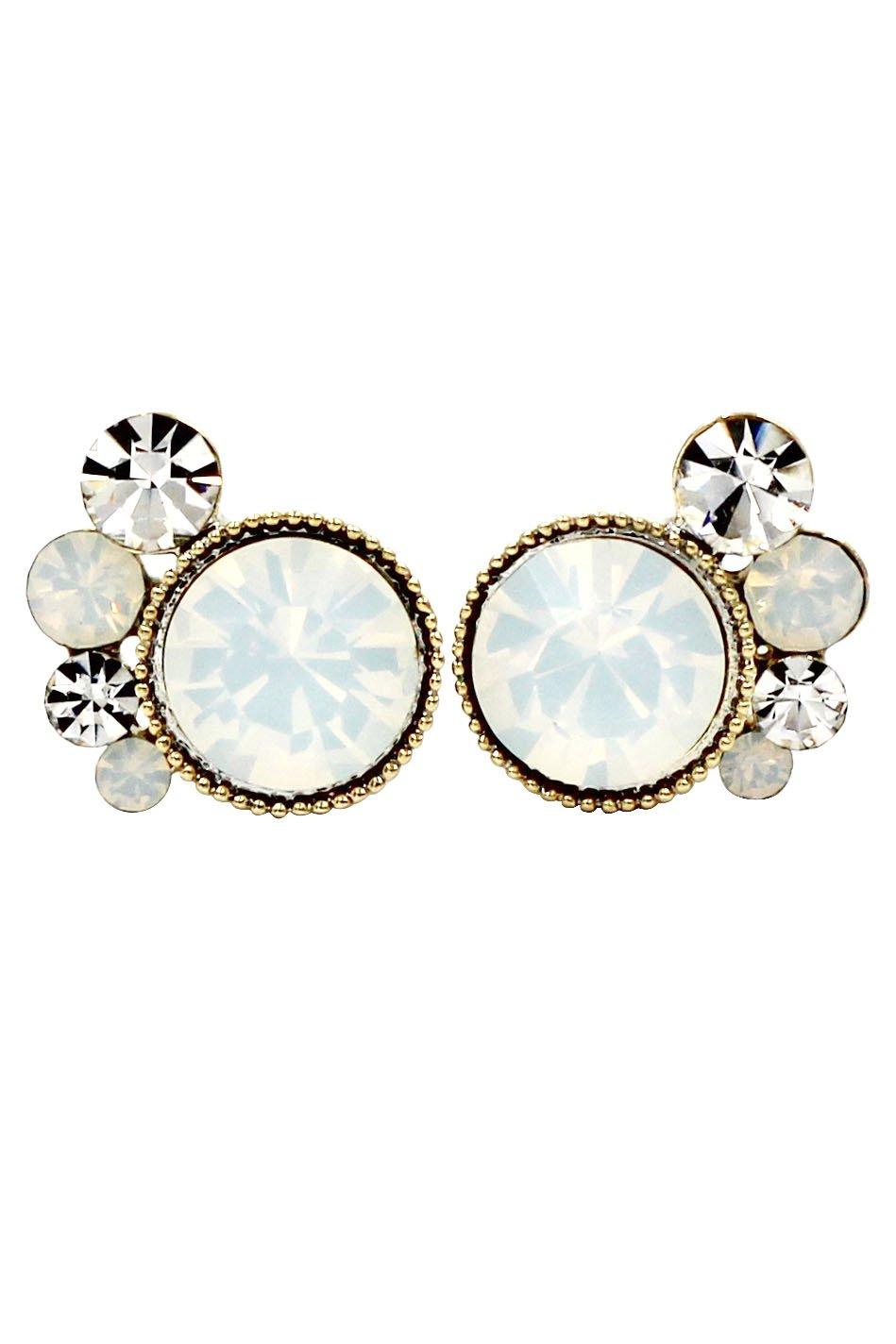 Lovely white crystal little feet earrings