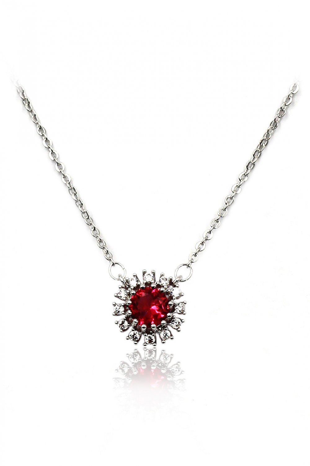 Simple red sun crystal silver necklace