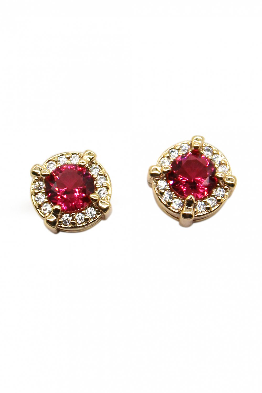 Simple golden red crystal earrings