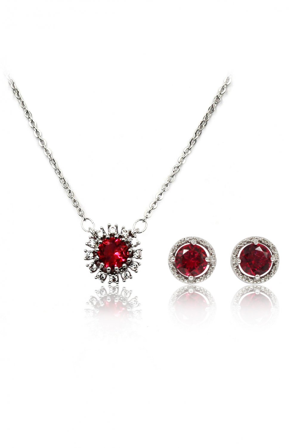 Simple red crystal necklace earrings silver set