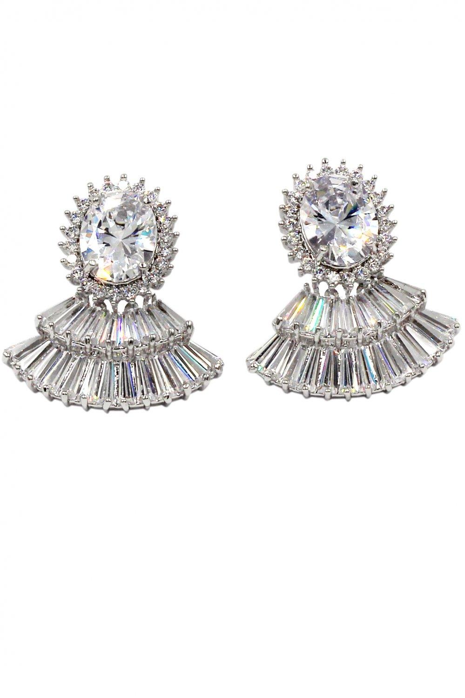 Lovely crystal skirt silver earrings